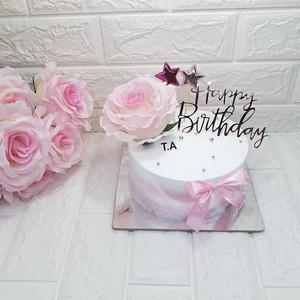 Bánh Sinh Nhật - Thúy An : Bánh nhỏ hoa lụa hồng HPBD nơ hồng